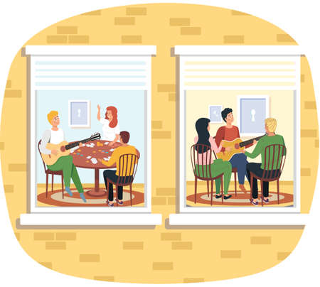 Group of people sing songs and play guitar sitting in apartment. social isolation, quarantine concept. Young men, group of friends musicians relax playing musical instruments stay at home 벡터 (일러스트)