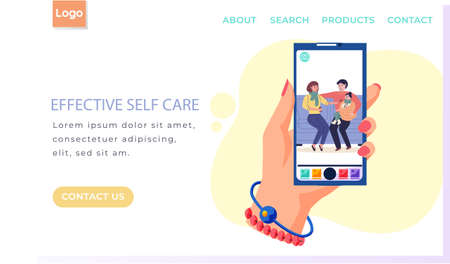 Internet website layout. Effective self care concept. Photo of parents giving medicine to child. Dad holds daughter wrapped in blanket in his arms. Mom holds out spoon with potion to little girl
