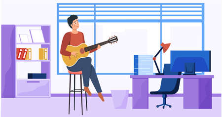Man sings song. Guy sitting in office with guitar. Guitarist making melody at workplace. Person creates music. Male character is composing songs. Musician plays strings on musical instrument
