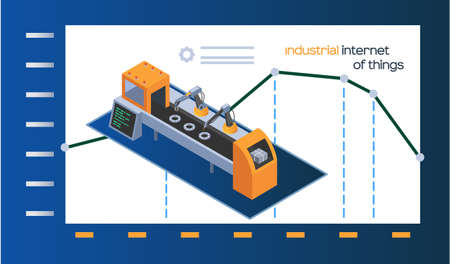 Industrial internet of things poster with machinery and robotic arm autonomous production and indicators change graph, industry dynamics. Automated factory assembly line with stand-alone tool