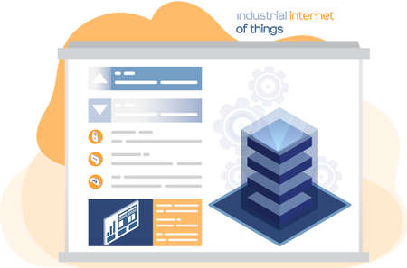 Internet of things, digital information technologies. Big data processing center, server energy station of future. Global transferring technology and remote access, database 4ir revolution, AI, IoT Illusztráció