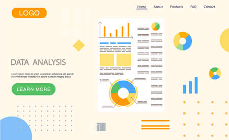 Data analysis landing page template, research, business data on presentation banner, graph and chart. Business growth with advanced innovative marketing plan, Financial success, project management