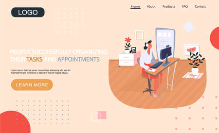 People successfully organizing their tasks and appointments landing page template with businesswoman sitting at table with laptop consults client. Time management and problem execution control