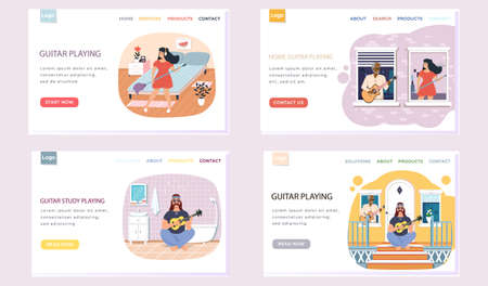 Set of illustrations with people make music on stringed instrument. Website guitar playing. Guitarists with musical instruments create melodies. Characters perform with acoustic guitar at home