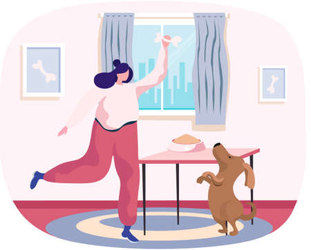 Pet owner happy woman playing with dog at home, funny girl jumping training puppy, gives him bone. Female is having leisure spend time with domestic animal cute doggy, feeding dog food from bowl