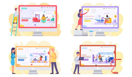 Set of illustrations about people interact with monitor depicting musicians. Guitarists play guitar. Characters perform with song. Performers compose new music and melody and playing instrument Ilustração