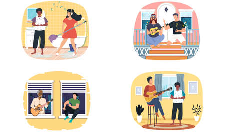 Set of illustrations about characters have fun together at home and listen to guitar playing. People sing songs for listeners friends. Musicians make music. Guitarists perform with stringed instrument