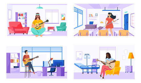 People play guitar and write songs. Set of illustrations with performers practice chords and compose. Guitarists make music. Musicians performing for audience. People with guitar create songs