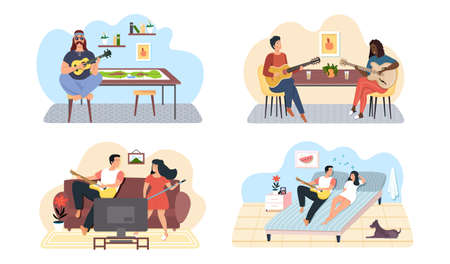 Set of illustrations about couples of musicians performing songs with guitar accompaniment. People play musical instruments and sing in duet. Guitarists with stringed instrument create melodies