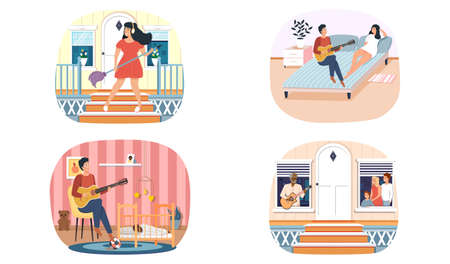 Set of illustrations about guitarists with instrument entertain audience. People have hobby. Guy sings romance to girl. Man sings to child at night. Girl imagines guitar. Musician performs on balcony