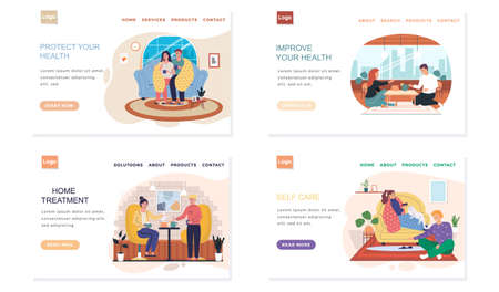 Set of illustrations about home treatment. Landing page template with sick people on self-isolation. Effective self care. Characters suffer from illness. Quarantined couples resting in apartment