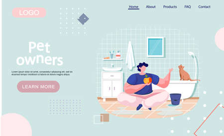 Pet owners landing page template guy sits with apple in bathroom on floor talking to clever cat. Animal sitting on bathtub looks at man. Fun time with pet at home. Male playing with small kitten