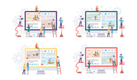 Set of illustrations about people looking at monitor with disinfection premises process. Sanitary inspection worker sprays liquid from cylinder. Prevention of disease. Colleagues work with computer