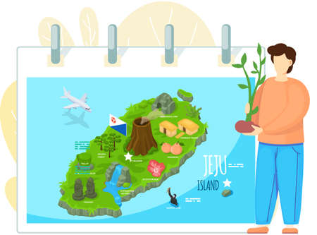 Jeju island map in cartoon style with main attractions and inscriptions. Beautiful green island in south korea with various Jeju symbols. Volunteer holding tree sprout, environmental protection