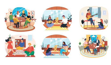 Set of illustrations about musicians with guitar entertain people playing board game in apartment. Performing songs live. Guitarists with musical instruments. People have fun and play games with music Ilustração