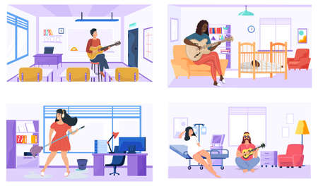 Set of illustrations with performers practice chords. People play guitar at home, office, hospital and school. Guitarists compose and play music. Musicians performing. People with guitar create songs