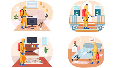 Set of illustrations about man in protective suit cleaning surfaces of apartment. Disinfection of premises concept. Sanitary inspection worker sprays liquid from cylinder. Prevention of disease