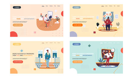 People successfully organizing their tasks and appointments landing page template set, business people at workplaces with laptop presents plan on board. Time management and problem execution control Vektorové ilustrace