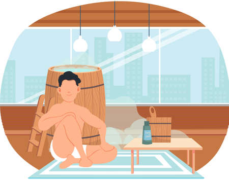 Man sitting near wooden tub in apartment. Bathhouse or banya at home interior design. Guy next to barrel is resting in sauna. Male character in hot steam. Person with bath accessories and body cream