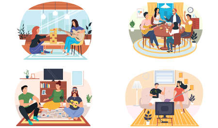 Set of illustrations about friends listen to music, play guitar, sit at table with board games. People spend time together and relax. Musicians play guitar or ukulele. Guitarists perform in apartment