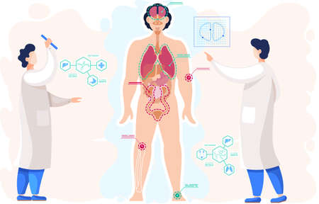 Examining body of patient. Detailed information on organs functioning. Anatomical structure of human body. Scientists in lab coats study structure of organs. People doing research vector illustration Vecteurs