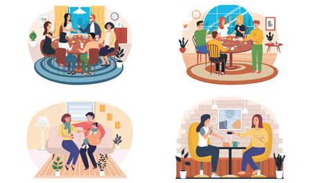 Set of illustrations about family playing board game at home. Parents and children spending evening time together. Girls drink coffee in establishment. Parents treating sick child in apartments