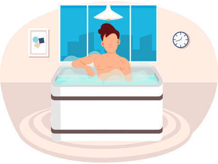 Young man sitting in bathtub flat vector illustration. Sauna at home interior design. Guy takes bath with hot steam. Male character sitting in jacuzzi. Person cleans skin in water in bathroom