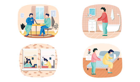 Scenes set of daily leisure and work activities performing by young people. Bundle of everyday routine situations. Woman works with laptop in office, talking to colleague communicates with man at home