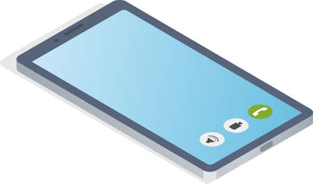 Smartphone grey with blue touchscreen, chatting sms, application for communications template isolated on white background. Illustration of mobile phone device for calls and conversations at distance