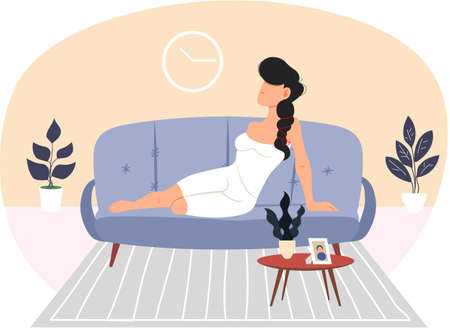 Brunette lady is lying in modern living room vector illustration. Woman wearing white dress or nightwear lies on comfortable sofa. Girl is resting in apartment alone. Female character on couch Ilustración de vector