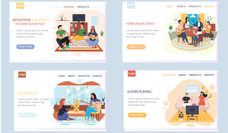 Set of illustrations about website with effective guitar learning strategy. People rest at home. Musicians perform melodies and music on acoustic guitar. Characters have fun in apartment together