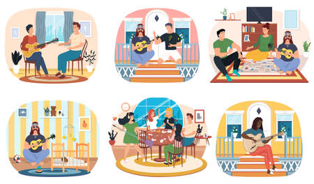 Set of illustrations about guitarists playing melody on musical instrument and performing