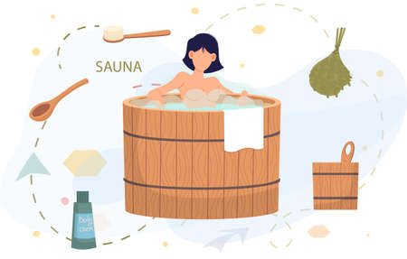 Female character surrounded by bath accessories is relaxing in wooden font with hot steam in sauna