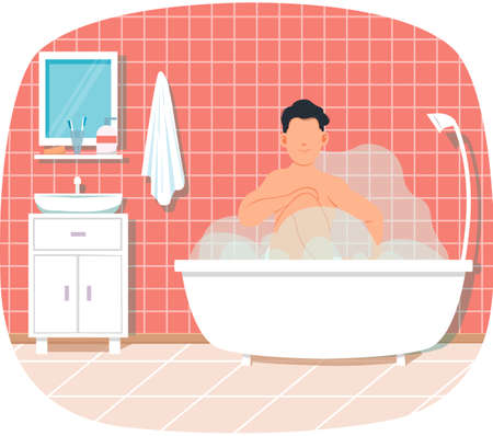Man is sitting in cloud of steam. Person is resting in bathroom in bathtub with hot water