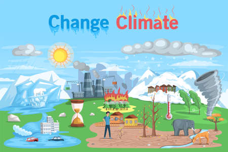 Temperature rising and animal extinction, climate change and danger for ecology. Natural disasters cataclysms