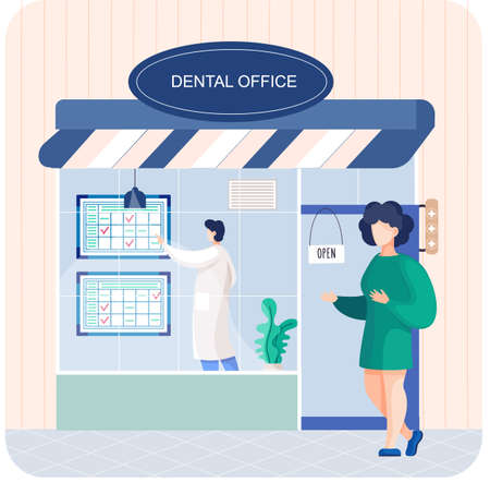 Dental office building doctor talking to patient. Medical stomatology clinic entrance with signboard Vecteurs