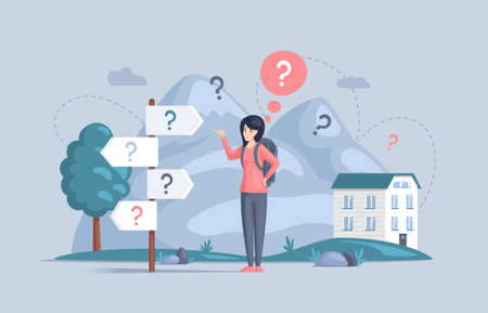 Making confusion. Doubts woman surrounded by question marks. Questions dilemma situations