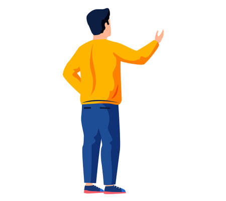 Young guy standing and talking turned back. Male character is looking at something behind him
