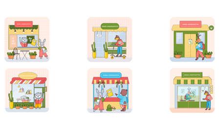 Animal kindergarten, cartoon wild baby animals attend classes and play games outside home scenes set