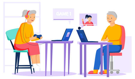 Old people play video game. Senior people with different gadgets. Oldster education on computer