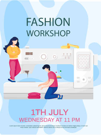 Man working with fabric, girl controls sewing machine tailoring. Fashion workshop concept poster