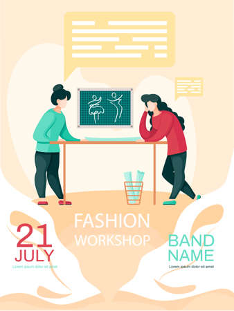 Girls planning pattern for future clothes. Female seamstresses working in professional tailoring studio. Fashion workshop concept poster. Custom tailoring and order of sewing clothes on website