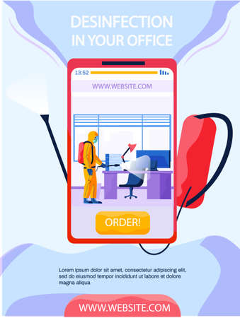 Disinfection in your office concept poster on phone screen. Description of sanitary service. Man in protective suit disinfects workplace with spray gun. Company providing disinfection services