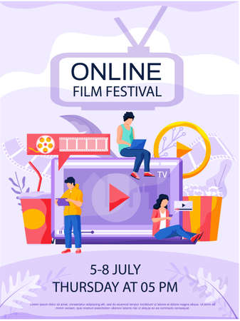 Online film festival, cinema via internet concept poster. People watching movie by online streaming, millenial vlogger. Website for watching fesivals landing page template, ui, web, homepage, banner Vector Illustration