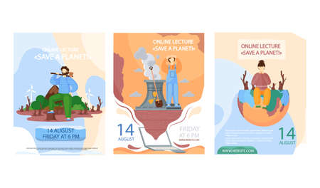 Set of illustrations about planet destroyed by human activity. Globe polluted by factories and people. Online lecture about planet saving concept poster. Earth suffers from pollution and drought