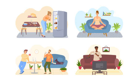 Set of illustrations about lifestyle. Sport, yoga, exercises, proper and poor nutrition, bad habits. Changes in life due to habits. Characters smoke cigarettes, drink alcohol and eat fatty foods