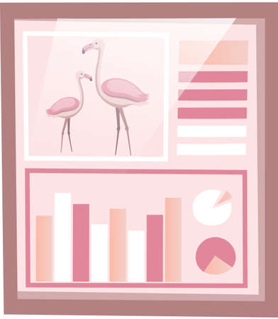 Nature conservation, environmental protection. Statistical poster about representative of biodiversity of Earth. Study of population of flamingo in nature. Researching statistics about pink birds Vector Illustratie