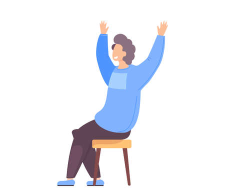 Man celebrates something. Happy guy excited by success. Male character with his arms raised up. Celebration, cartoon sitting surprised man winner makes joyful gesture with his hands side view