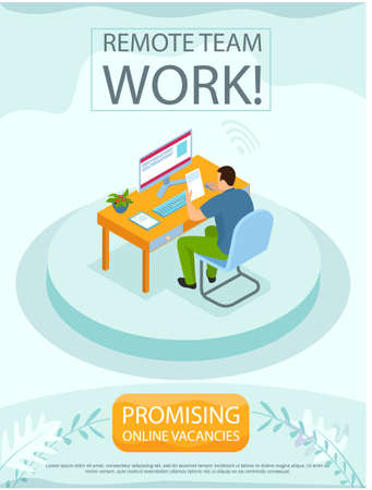 Remote team work, online meeting workspace. Video call chat conference, freelan er works from home. Man communicating at distance with computer. Promising online vacancies business banner design
