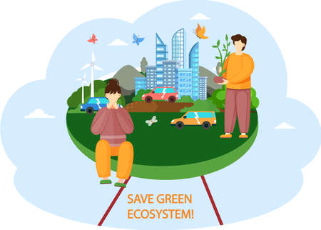 Nature and ecology design poster. Save green ecosystem concept. Environmental protection of Earth. People on background of modern prosperous city provided with alternative energy. Man planting tree